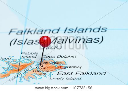 San Carlos pinned on a map of Falkland Islands