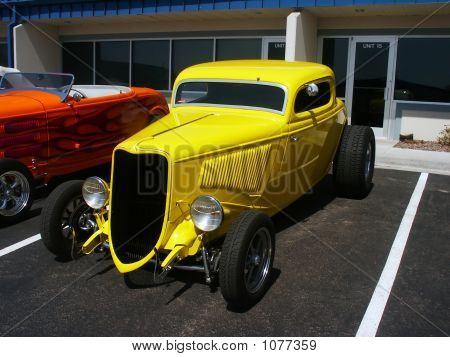 Yellow American Hotrod