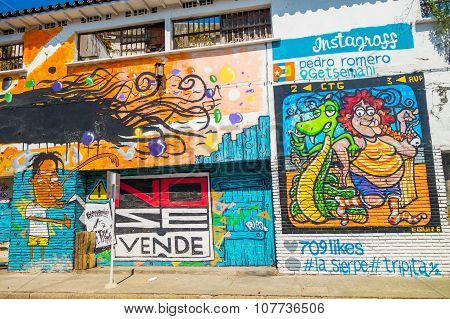 Colorful graffiti street art in Cartagena, Colombia