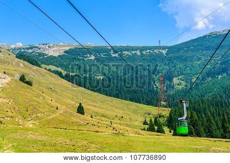 Beautiful View From Top Of Cableway Above The Mountains And Meadows. Horizontal Colorful Landscape O