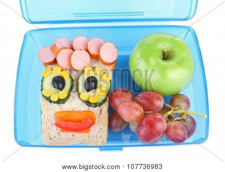 Creative sandwich with grape and apple in lunchbox isolated on white background