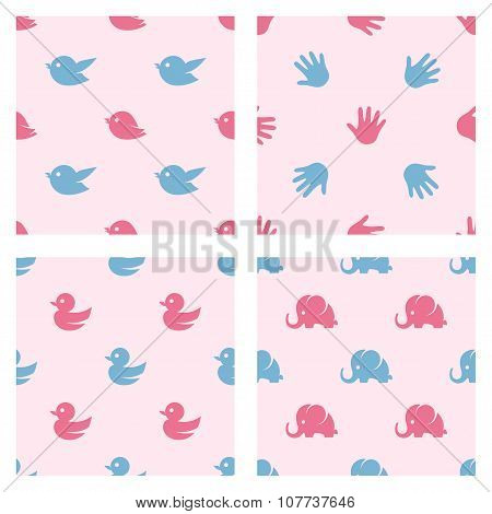Baby shower related patterns. Birds, duck, elephant and palm print cartoon vector shapes.