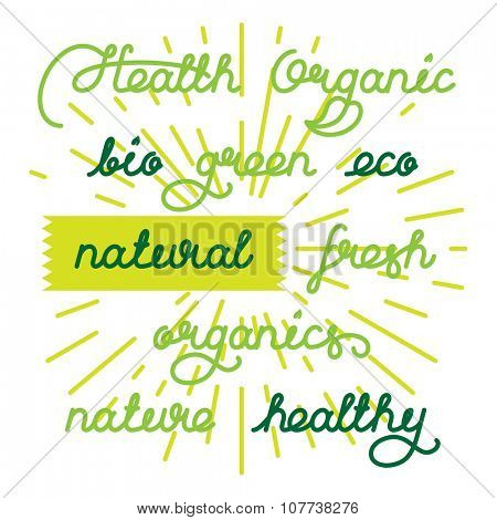 Labels set for natural products, foods, organics. Lettering vector illustration