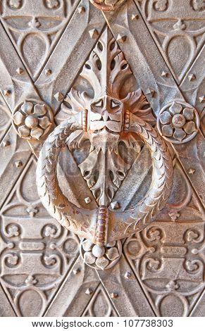 Metal door of the ancient castle