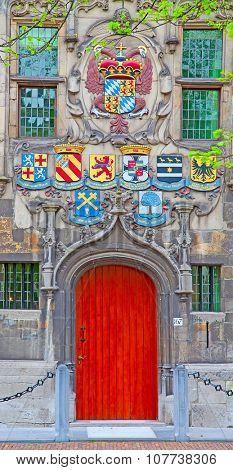 Wooden door of the ancient castle