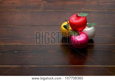 Apple Decorations On Wooden Table