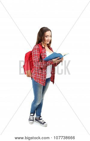 Portrait Of A Young Student Girl On A White Background