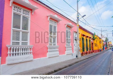 Beautiful house facades in the streets of Cartagena, Colombia