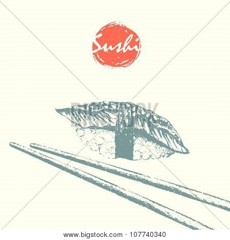 Unagi Sushi And Chopsticks Sketch Background.