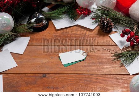 The wooden table and Christmas decoration