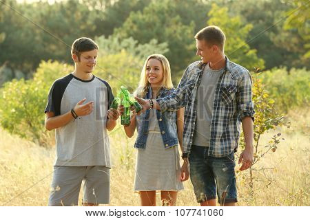 Smiling friends relaxing and clinking bottles in the forest outdoors