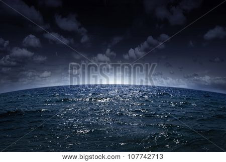 beautiful view of the sea at night and night clouds