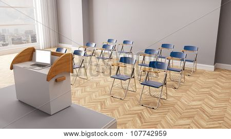 Laptop computer in conference room with row of chairs (3D Rendering)