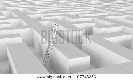 Ladder on wall in maze as symbol for solution and success (3D Rendering)
