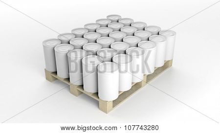 Cans mockups set on wooden pallet, isolated on white background.