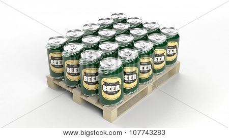 Beer can mockups set on wooden pallet, isolated on white background.