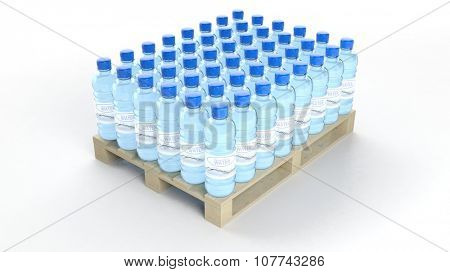 Water bottles set on wooden pallet, isolated on white background.