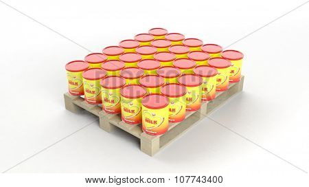 Powder Milk cans set on wooden pallet, isolated on white background.