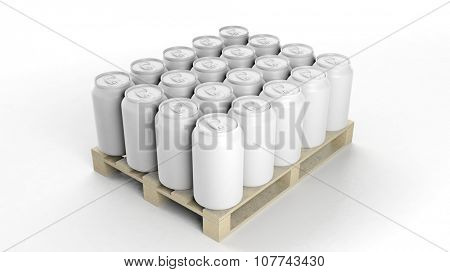 Can mockups set on wooden pallet, isolated on white background.