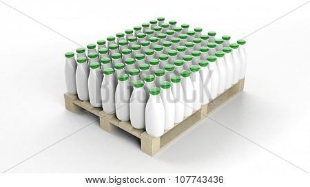 Plastic bottles mockups set on wooden pallet, isolated on white background.