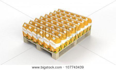 Orange juice boxes set on wooden pallet, isolated on white background.