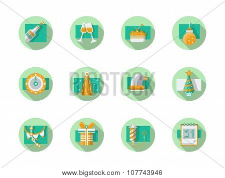 Happy New Year flat round vector icons