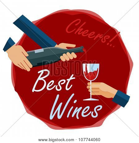Flat illustration of celebration with glass of  luxury wine