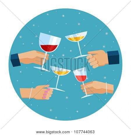 Flat design illustration of hands toasting with glasses of wine and champagne. Celebration