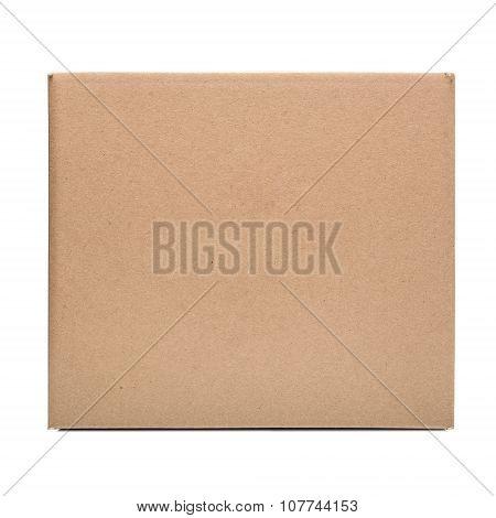 Cardboard box on white.