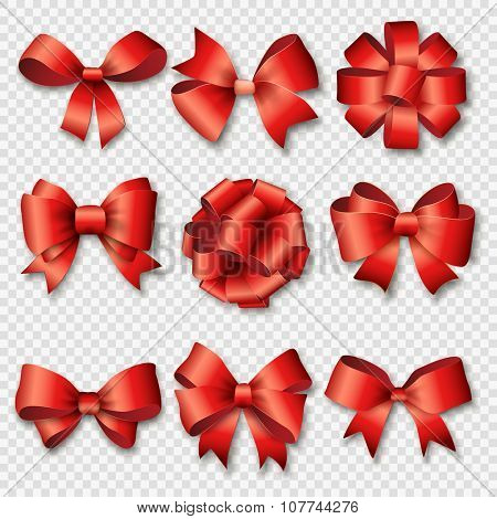 Ribbons set for Christmas gifts. Red gift bows with ribbons vector illustration. Red gift ribbons and bows for New Year celebrate. Christmas ribbons, christmas gifts, christmas bows. Birthday ribbons