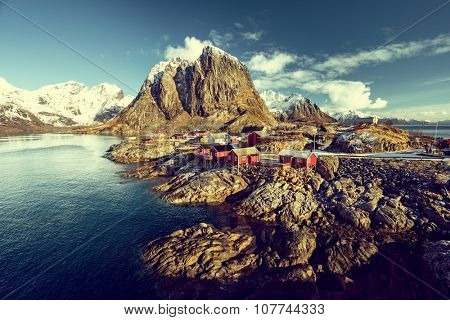 Fishing hut at spring - Reine, Lofoten islands, Norway