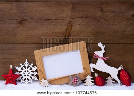 Red Christmas Card On Snow, Copy Space, Reindeer And Ball