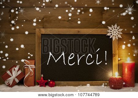 Christmas Card, Blackboard, Snowflakes, Merci Mean Thank You