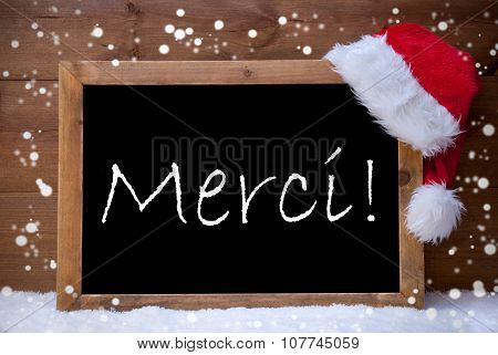Christmas Card,Chalkboard, Merci Mean Thank You, Snowflake, Snow