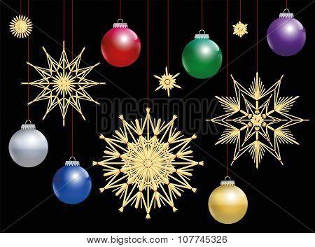 Straw Stars Colorful Christmas Balls Night