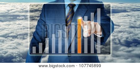 Torso Of Manager Selecting A Bar In Growth Chart