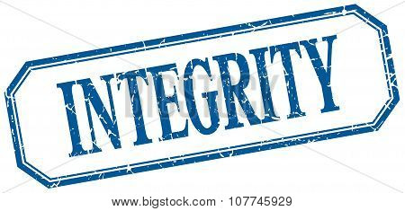 Integrity Square Blue Grunge Vintage Isolated Label