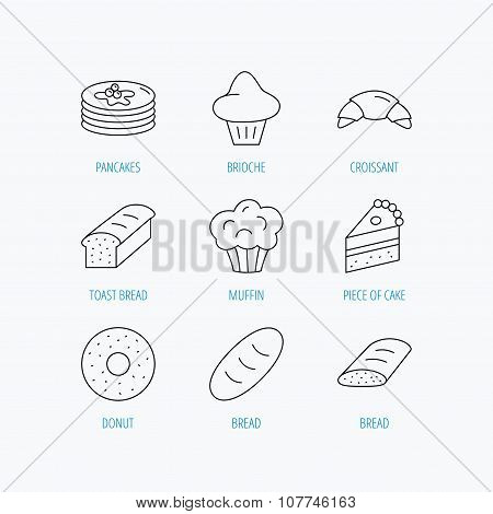 Croissant, cake and bread icons. Muffin.