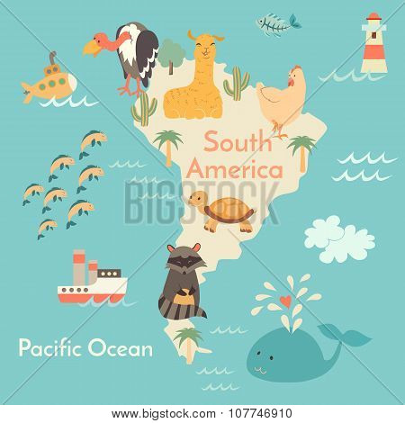 Animals world map Sorth America