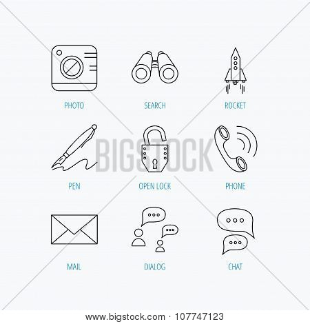 Photo, startup rocket and search icons.