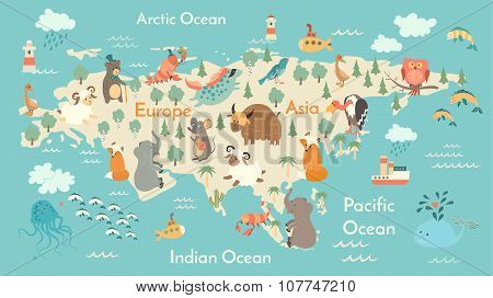 Animals world map Eurasia