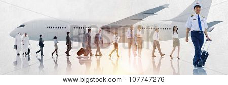 Multiethnic Group of Business People Airplane Concept