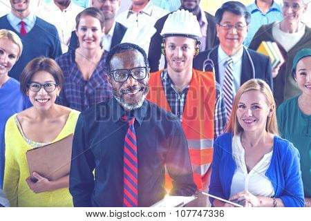 Multi-Ethnic Group of People with Various Occupations Concept