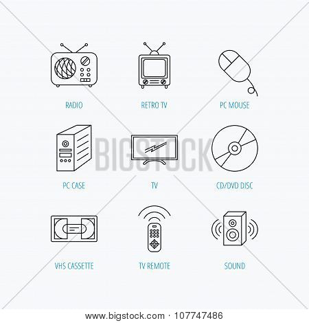 Retro TV, radio and DVD disc icons.