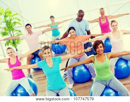 Healthy People Fitness Balance Exercising Gym Sport Concept