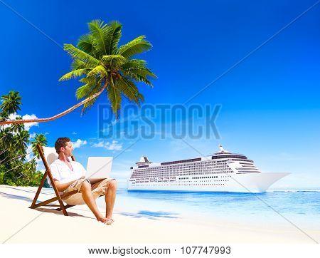 Man Vacation Working Summer Beach Concept