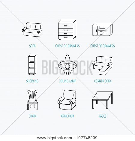 Corner sofa, table and armchair icons.
