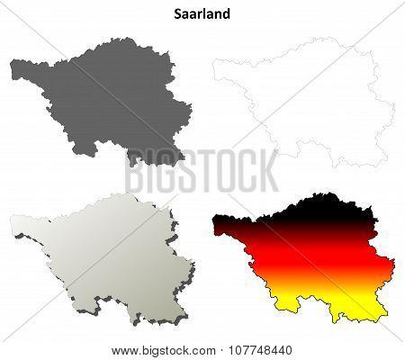 Saarland blank outline map set