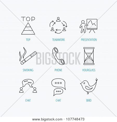 Teamwork, presentation and phone call icons.