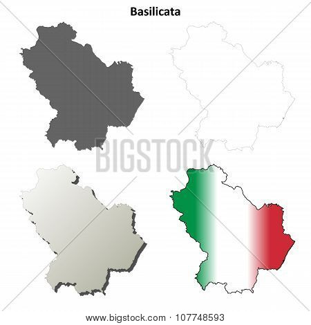 Basilicata blank detailed outline map set